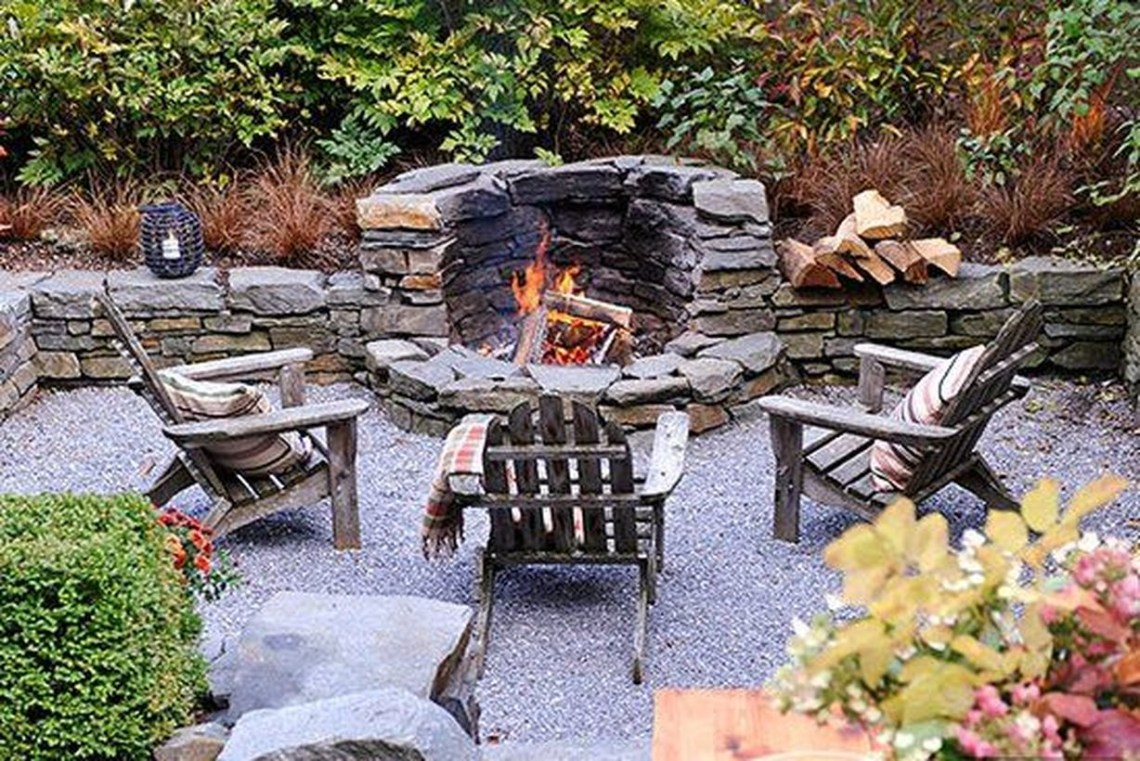 Fire pit with natural stone
