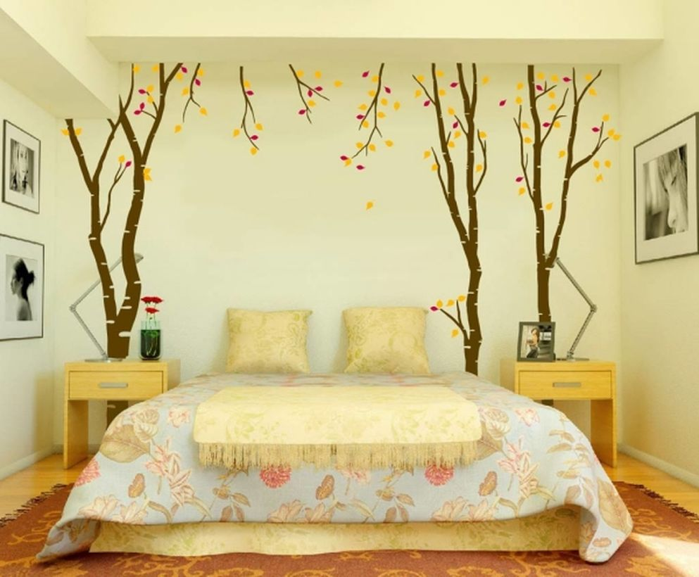 Fresh wall painting ideas for bedroom with autumn tree on different background for your inspire