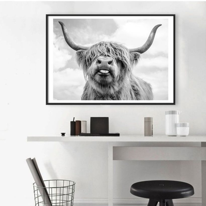 Home decoration ideas on a budget with highland cow canvas to make it look attractive