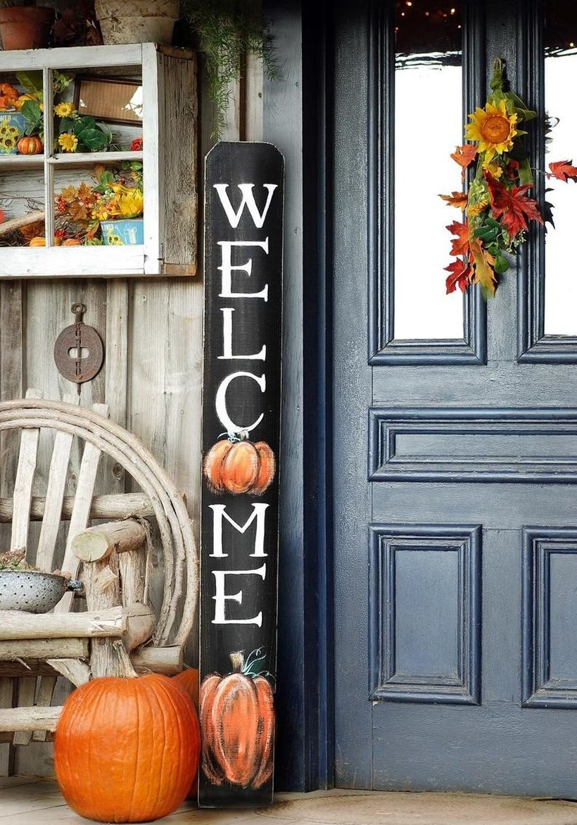 Inspire decoration home decor with our beautiful hand-painted fall pumpkin welcome sign you must try