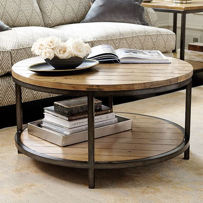 Large round wooden coffee table