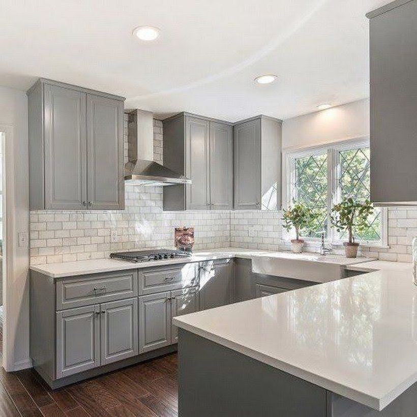 Letter u white countertop design on gray cabinet
