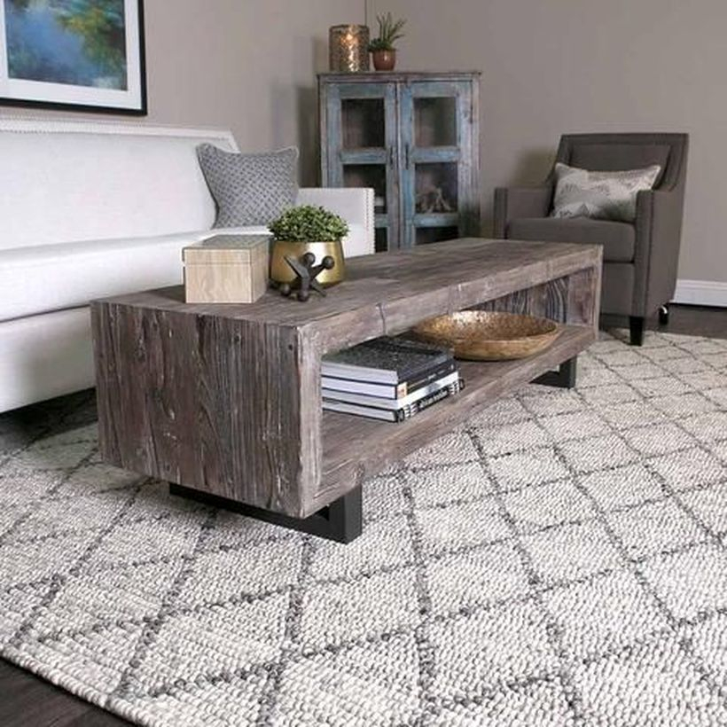 Long wooden thick coffee table