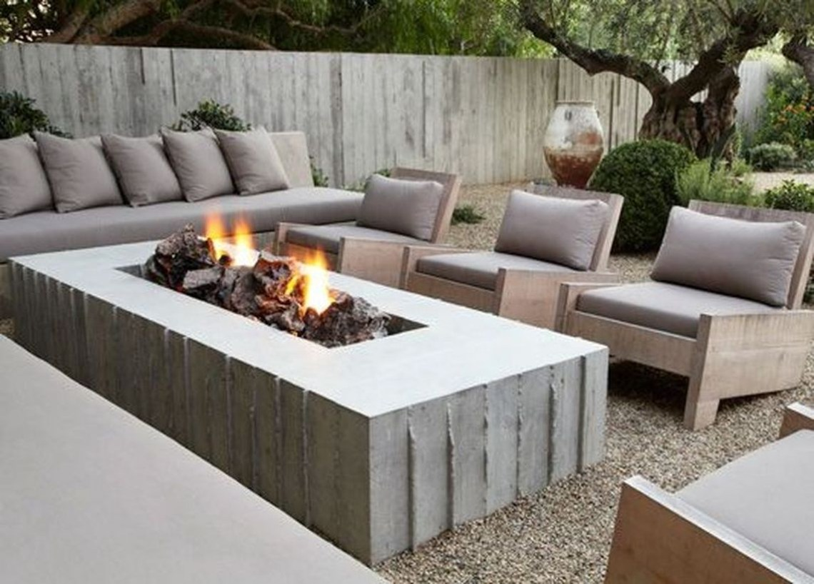Modern long table fire pit