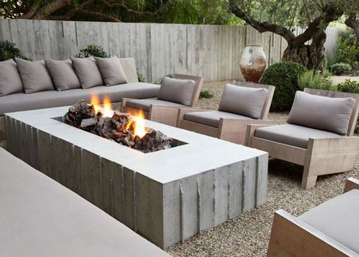 Modern long table fire pit
