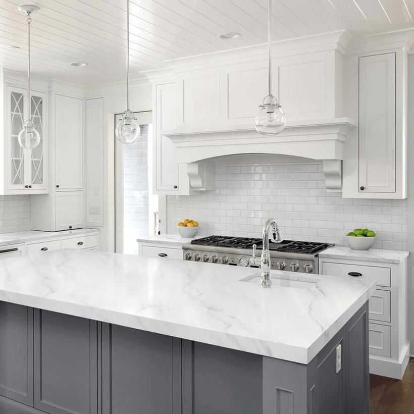 Modern white countertop design on gray cabinet