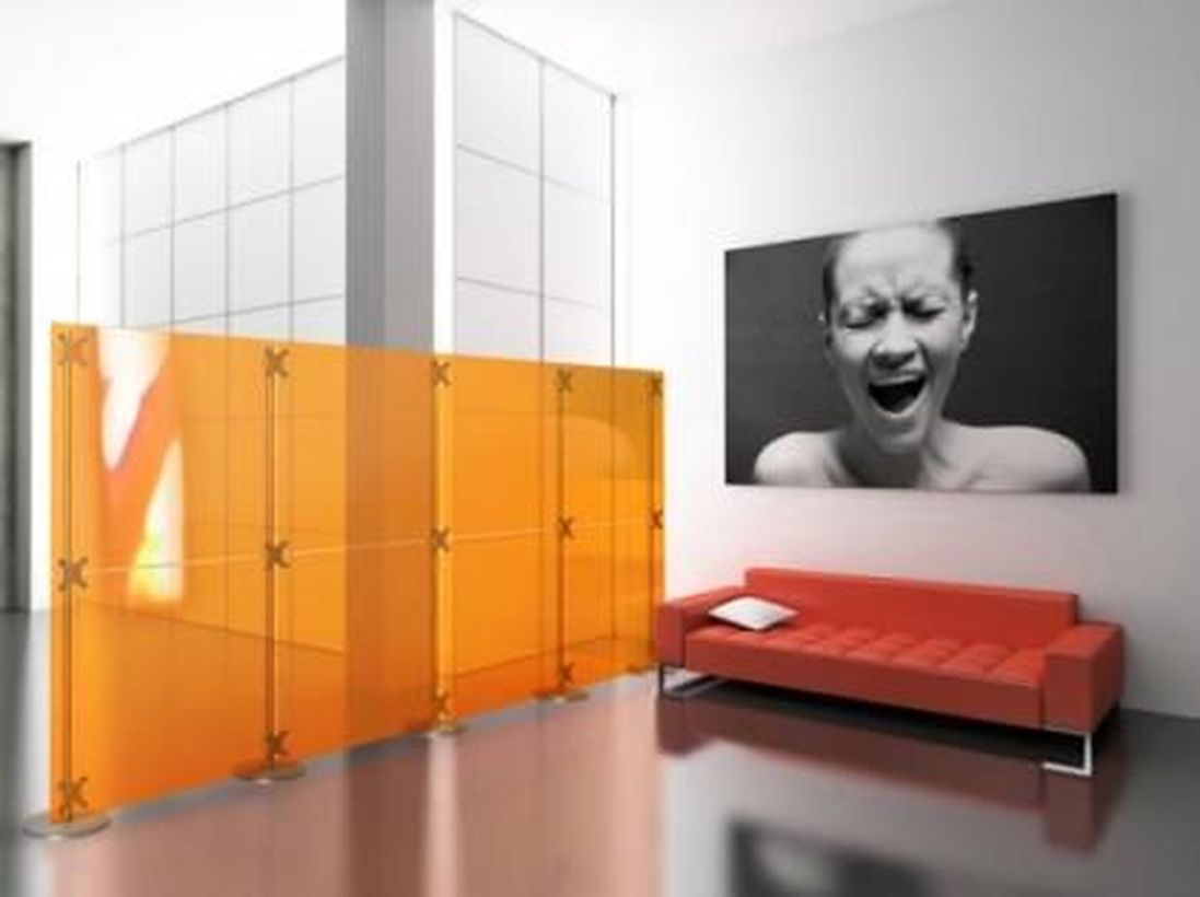 Orange plastic room divider