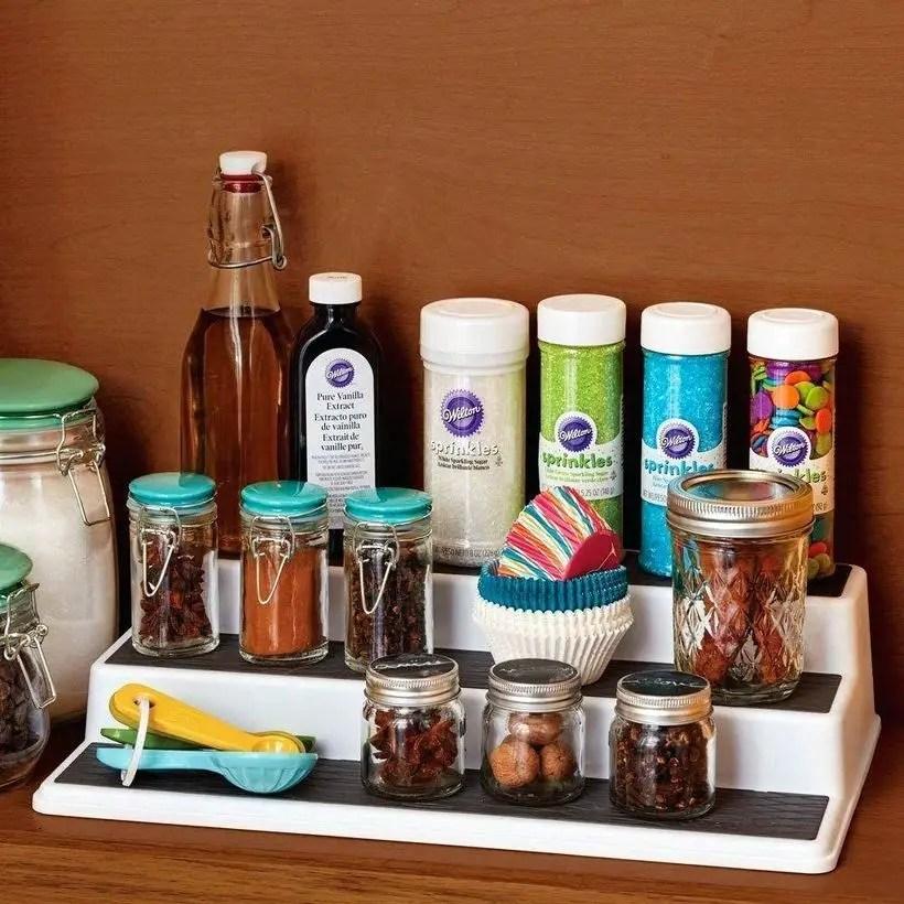 Organize spices 3 tier spice organizer in drawer small kitchen