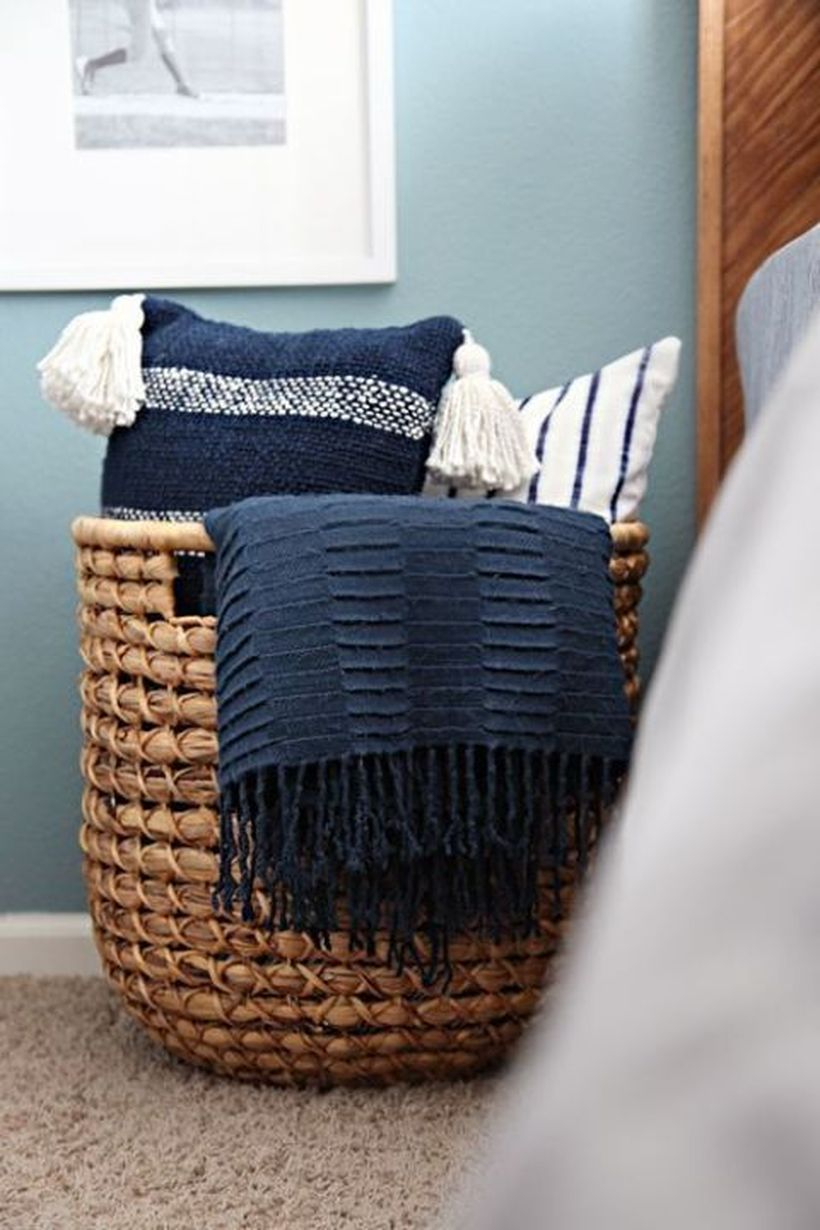 Rattan basket to store cushion