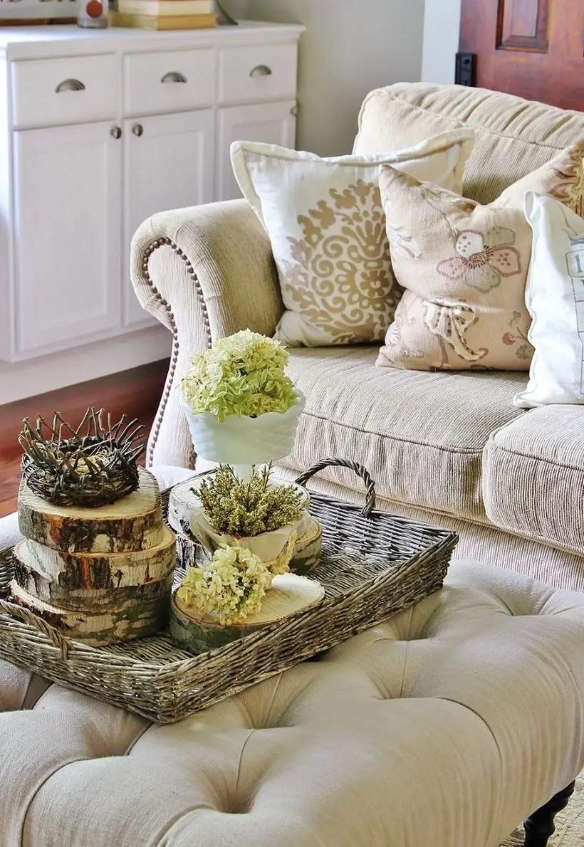 Rattan basket to store farmhouse centerpiece