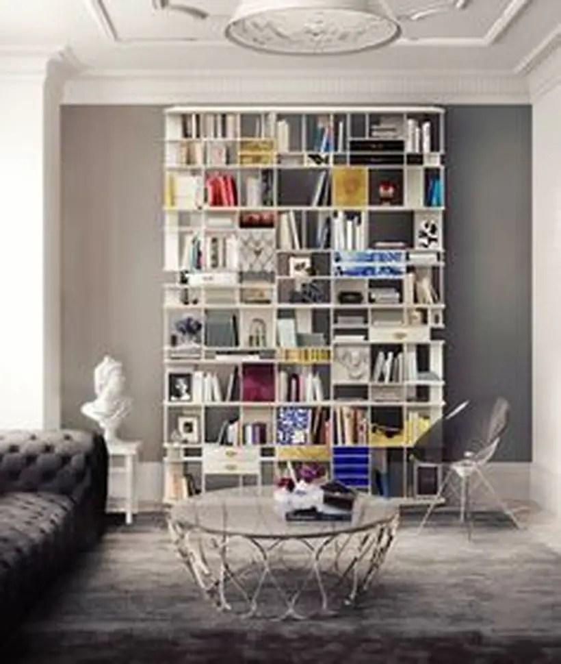 Square white bookshelves design