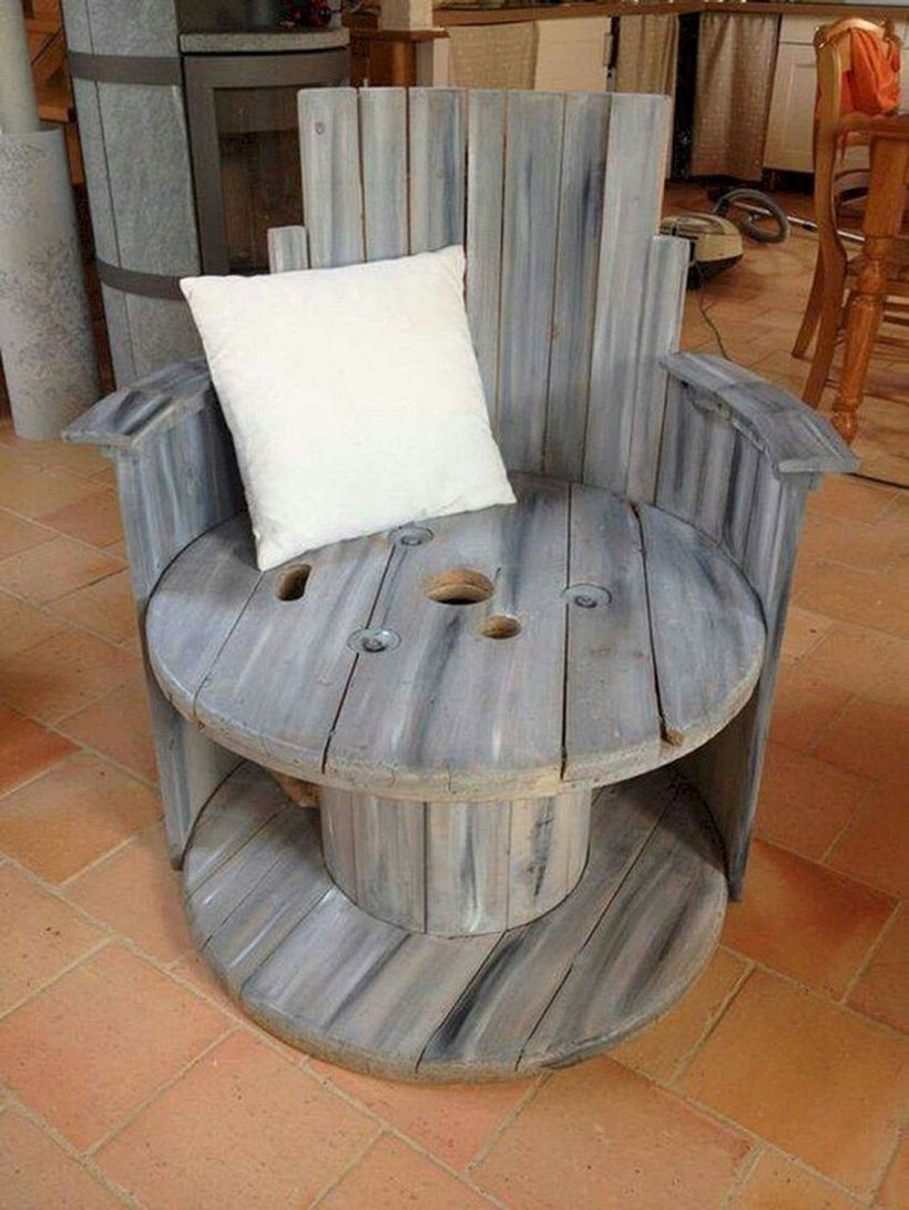 Unique chair from wooden spool