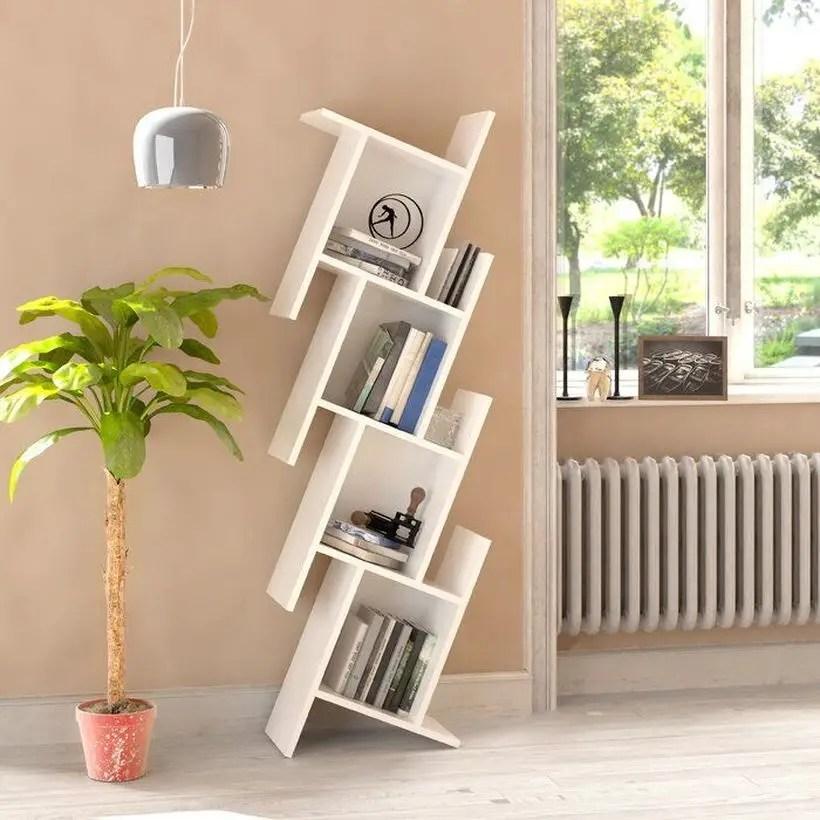 Unique white bookshelves ideas