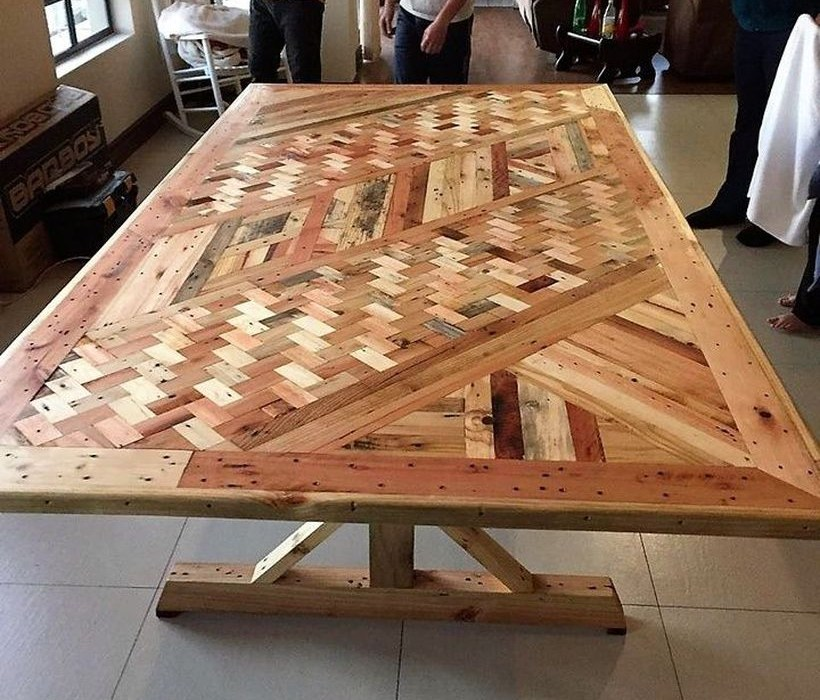 Unique wooden table with woven theme