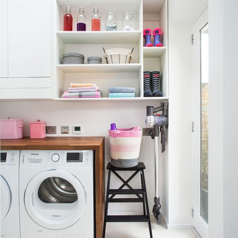 Washing machine with basket colorful storage and white rack