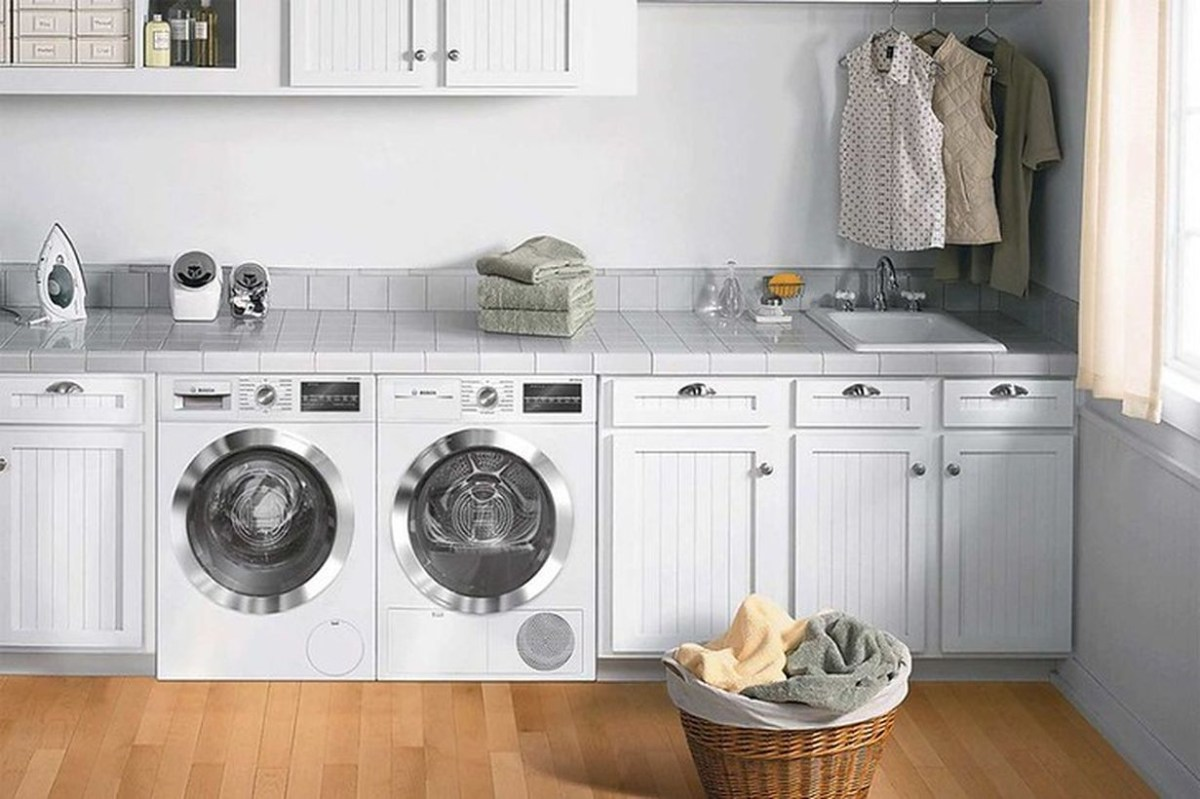 Washing machine with basket rattan storage and white storage