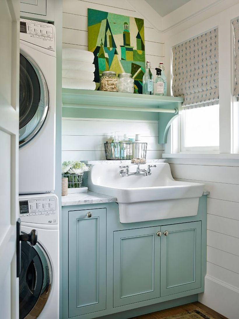 Washing machine with green rack and wooden cabinet storage