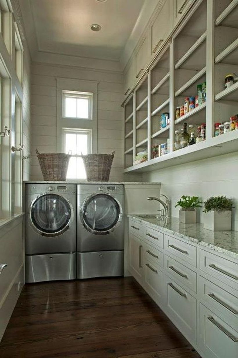 Washing machine with white cabinet storage and basket rattan storage