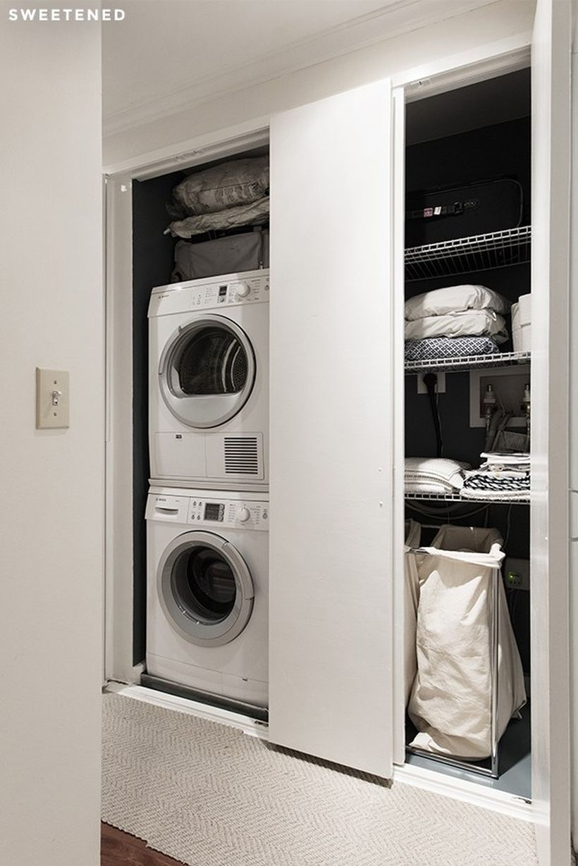 Washing machine with white fabric storage and white iron storage
