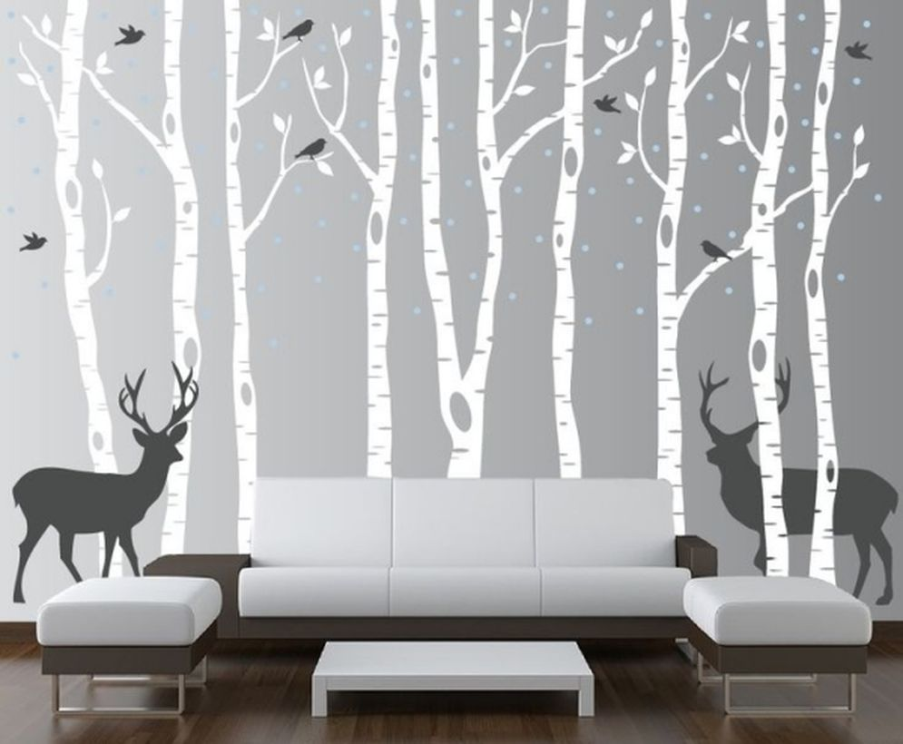 White and gray living decor with decoration wall painting of deer and bird animal themes