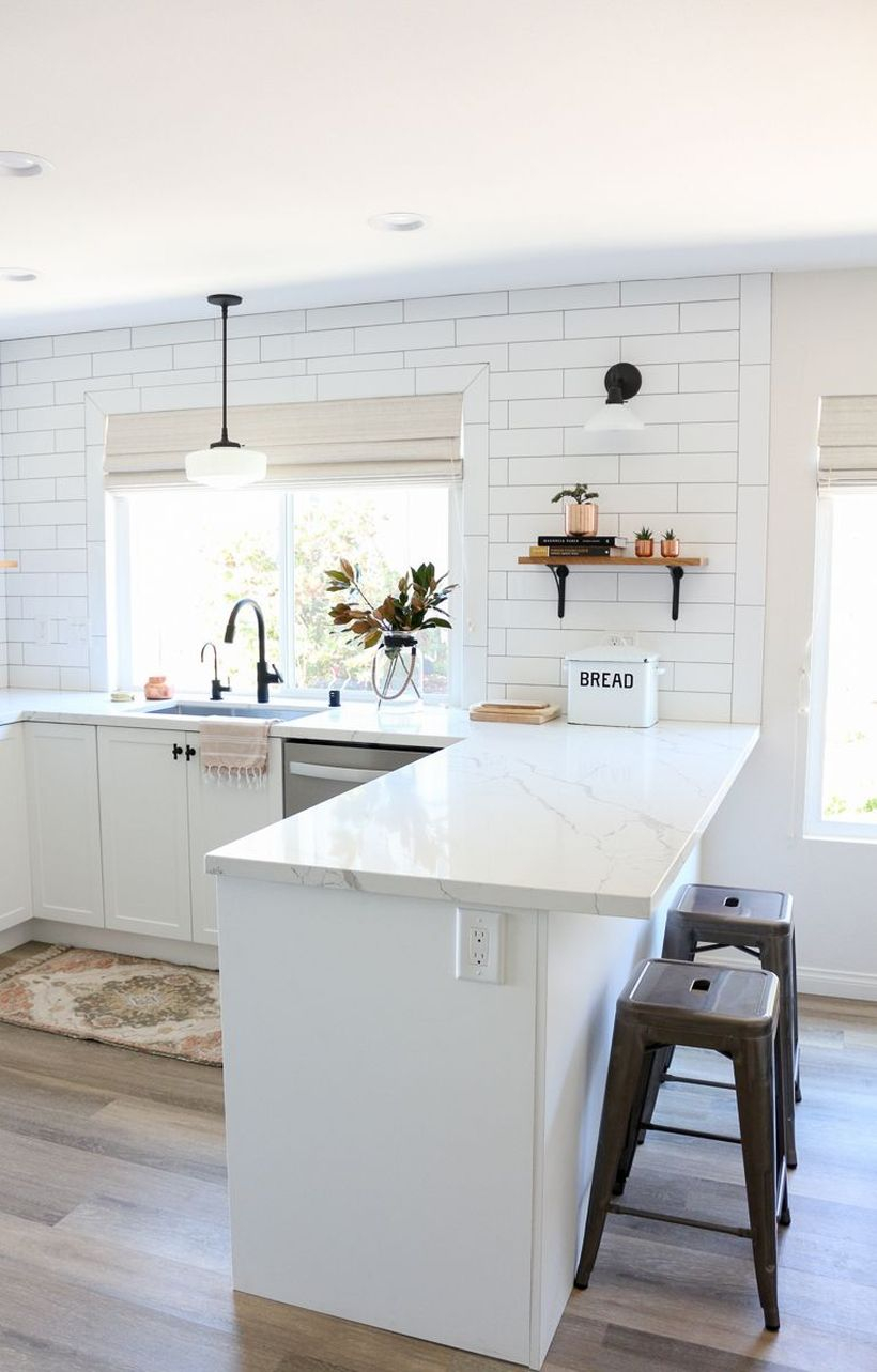 White countertop design with small black chair