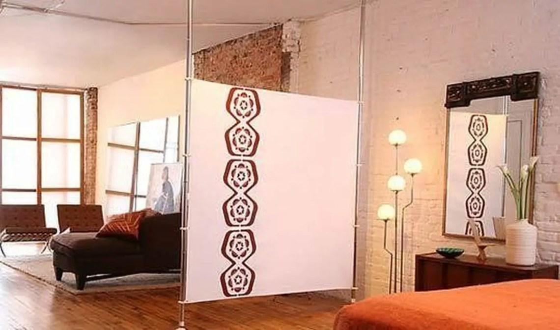 White fabric room divider