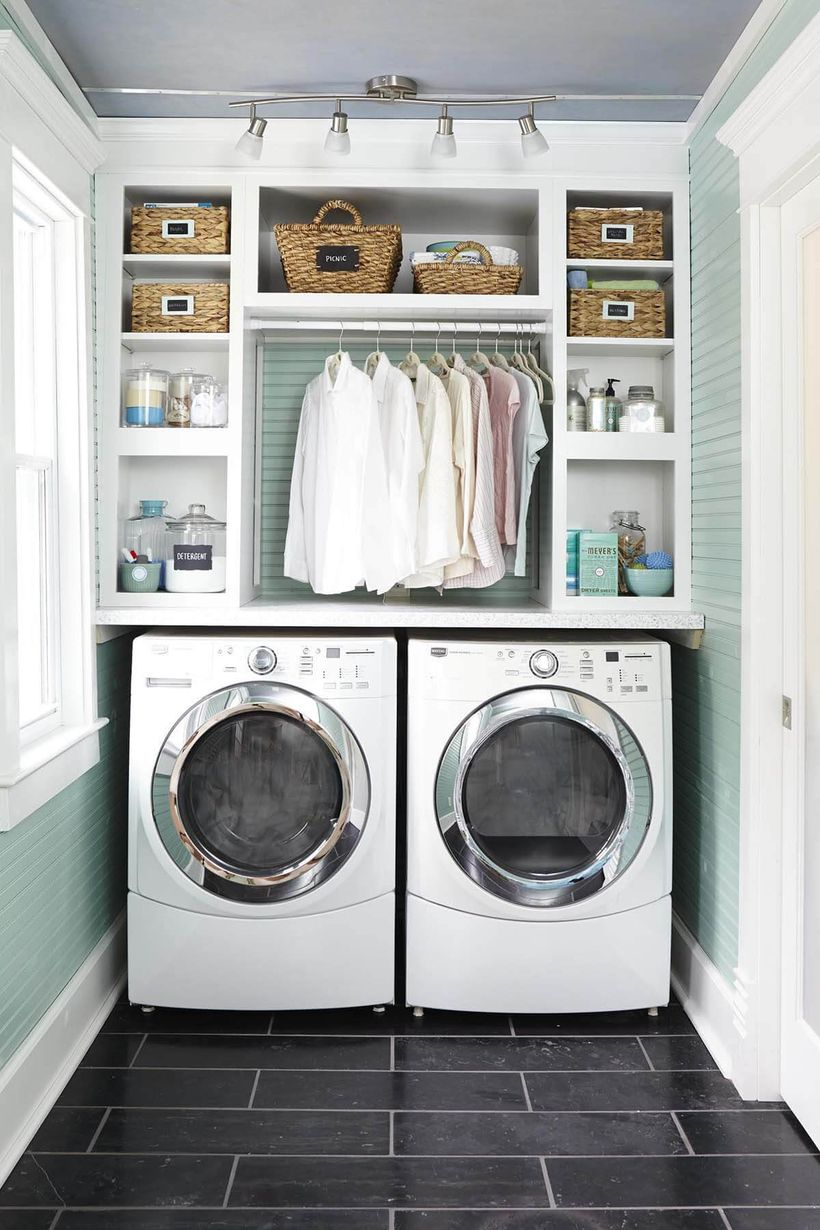 White washing machine and rattan storage