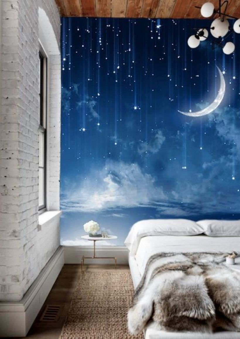 Wonderful wall painting ideas for bedroom with night and glowing object for teenage