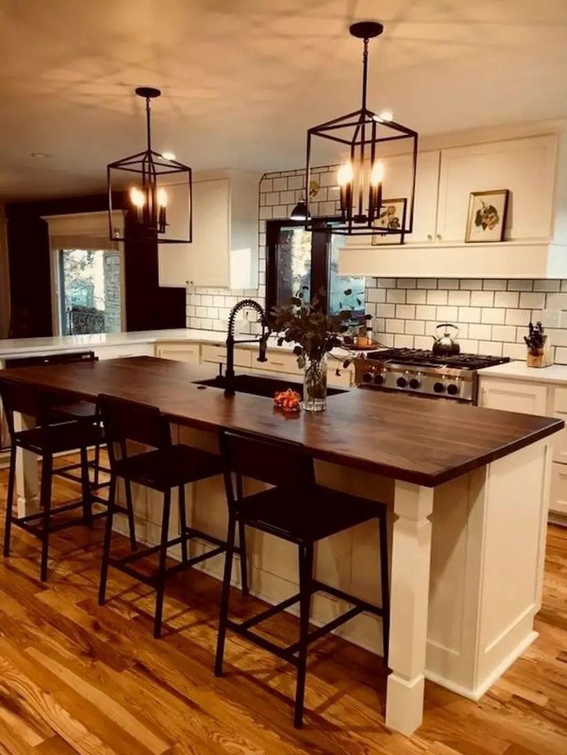Wooden countertop design black iron chair