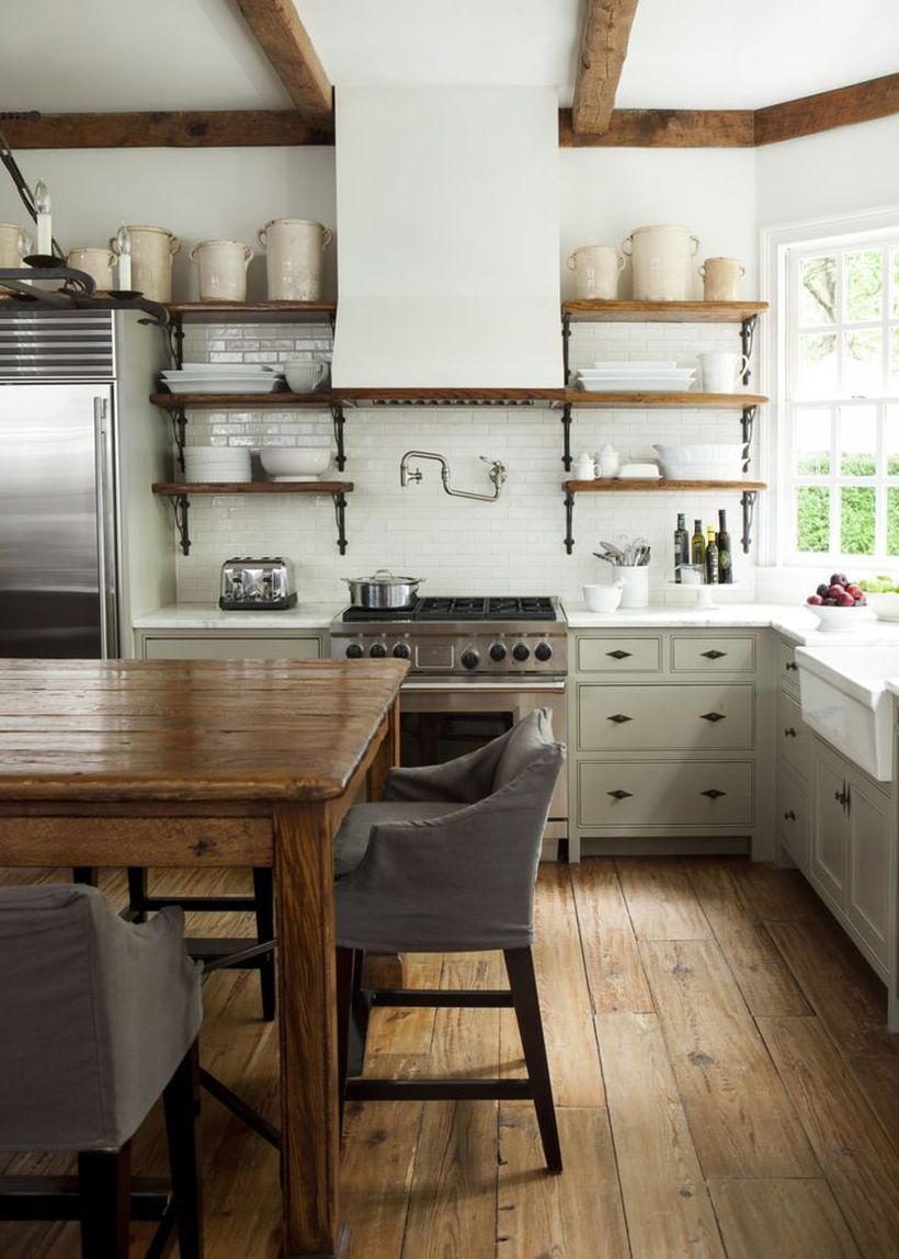 An amazing wooden kitchen flooring with white wooden, wooden rack, and square wooden table