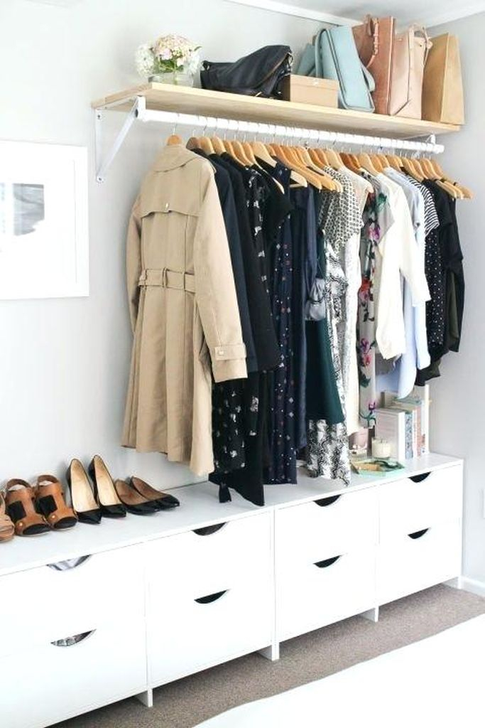 An awesome diy storage for bedroom with clothes storage under shelves to complete your small bedroom