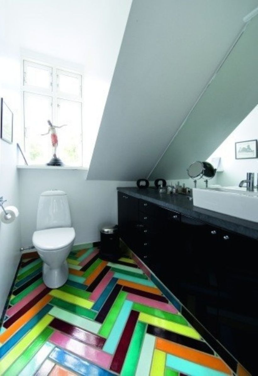 Best bedroom with striped colorful tile, black cabinet, and white closet to look good