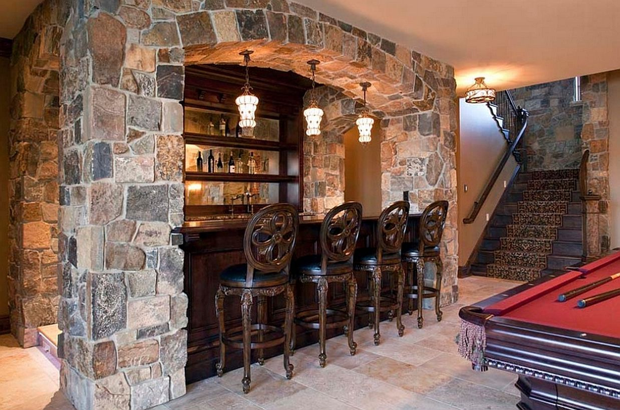 Classic basement bar design with a pool table