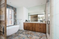 Gergoush bedroom with antique tile design, wooden cabinet and white bathup