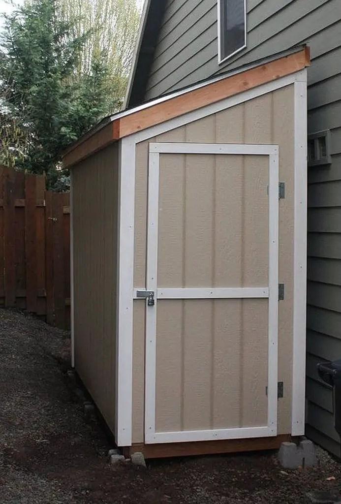 Half-size storage shed for backyard