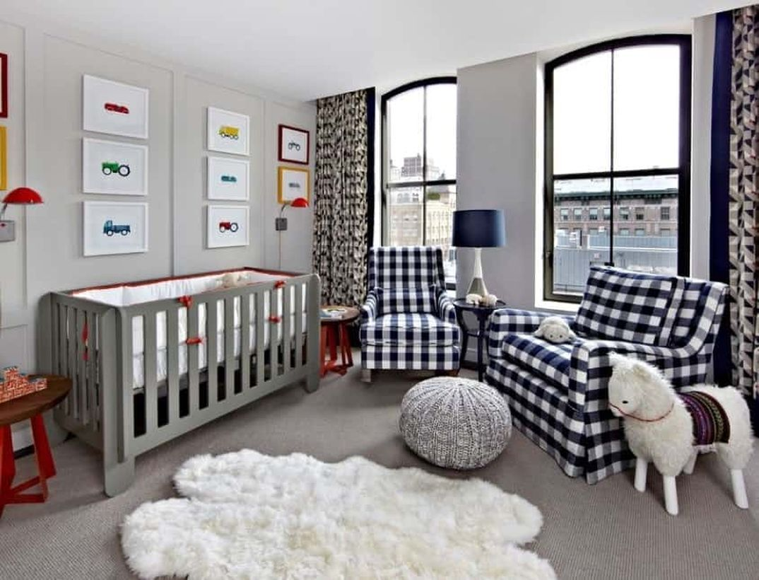 Large-nursery-for-baby-boys-with-brown-wooden-bed-plaid-sofa-for-parents-relax-while-waiting-for-the-baby-to-sleep