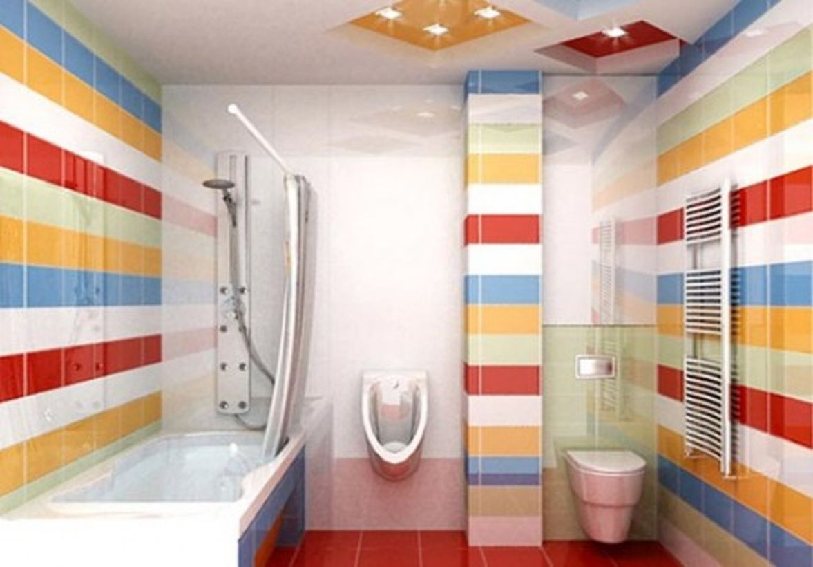 Pretty bathroom with colorful striped pattern walls to look stunning