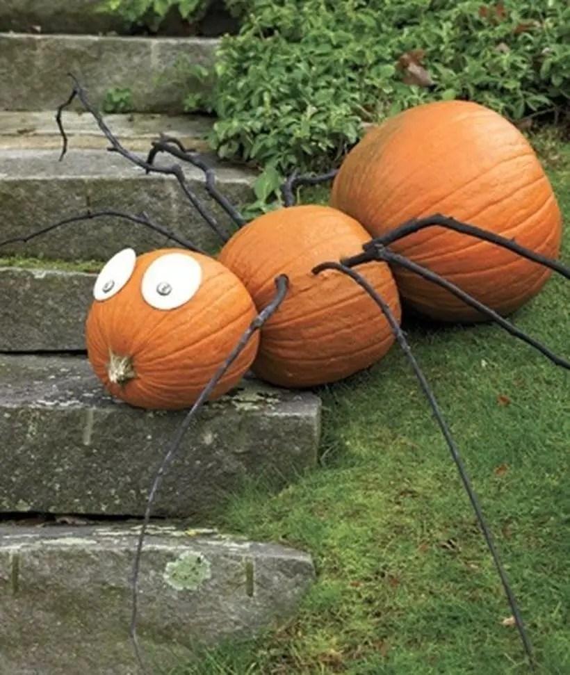 Pumpkin decoration with spider shape