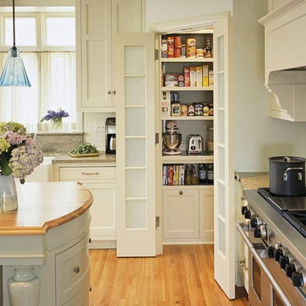 Small kitchen pantry at the corner