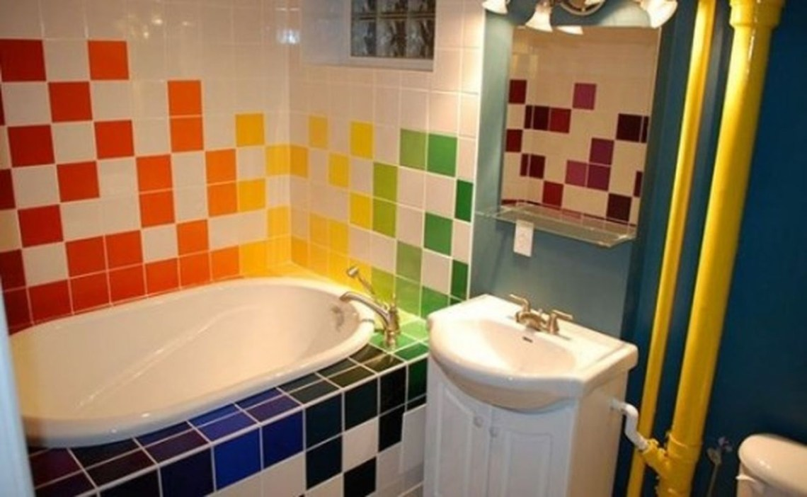 Square colorful tille on the wall with white sink for amazing bathroom decoration