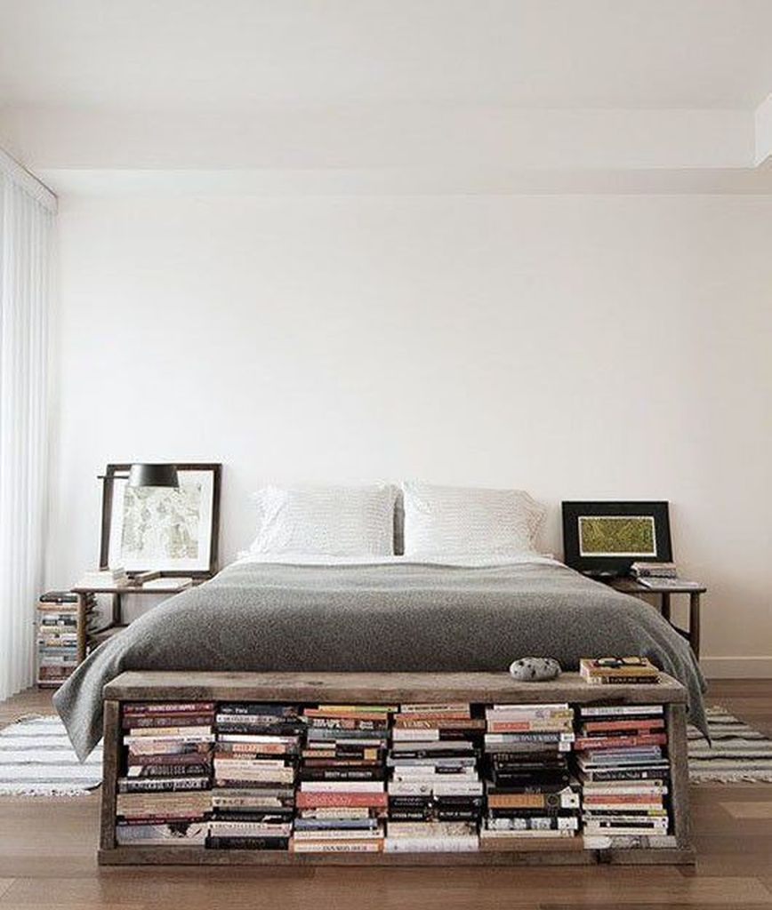 Stunning small bedroom ideas with bookshelf at the foot bed to perfect your bedroom