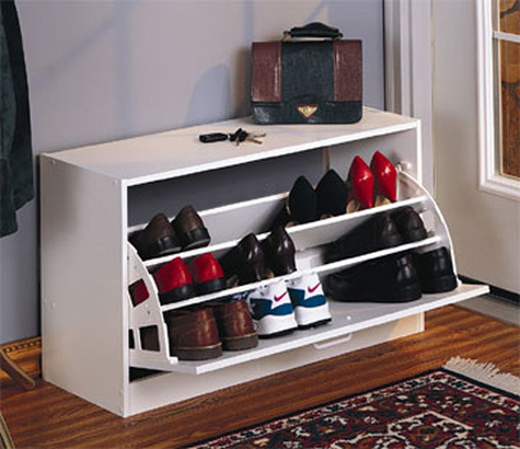Stunning storage ideas for a small bedroom with a shoe storage cabinet in white to complete your shoes storage