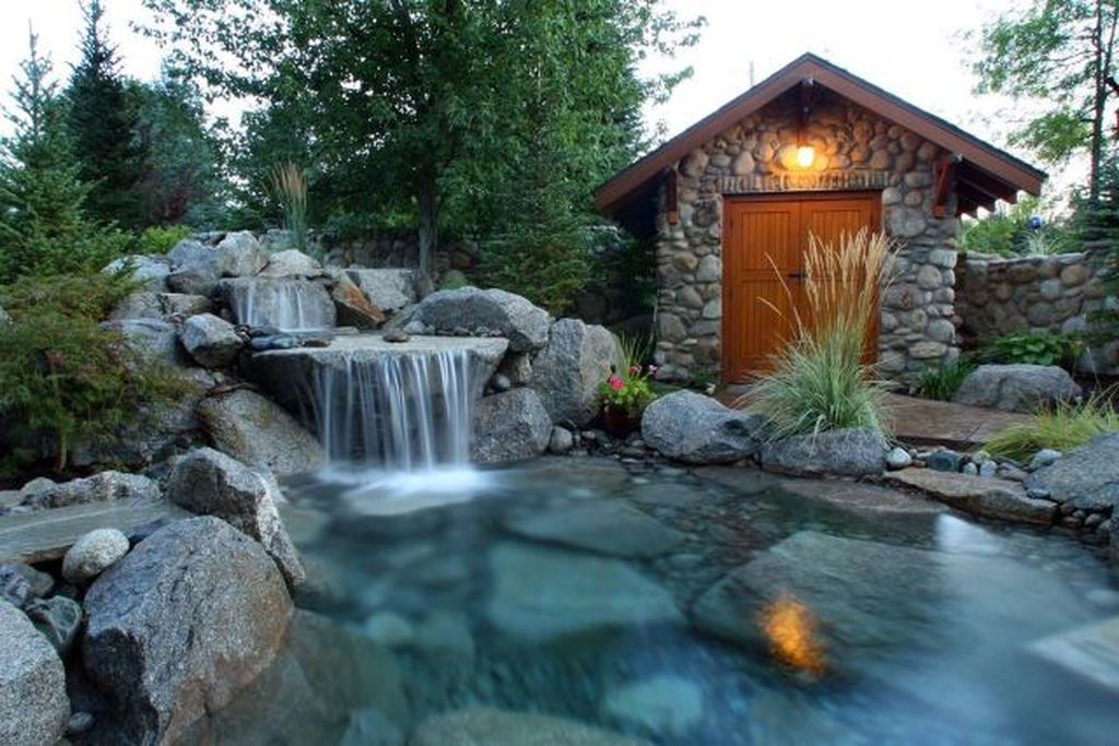 Wall shed design with stone