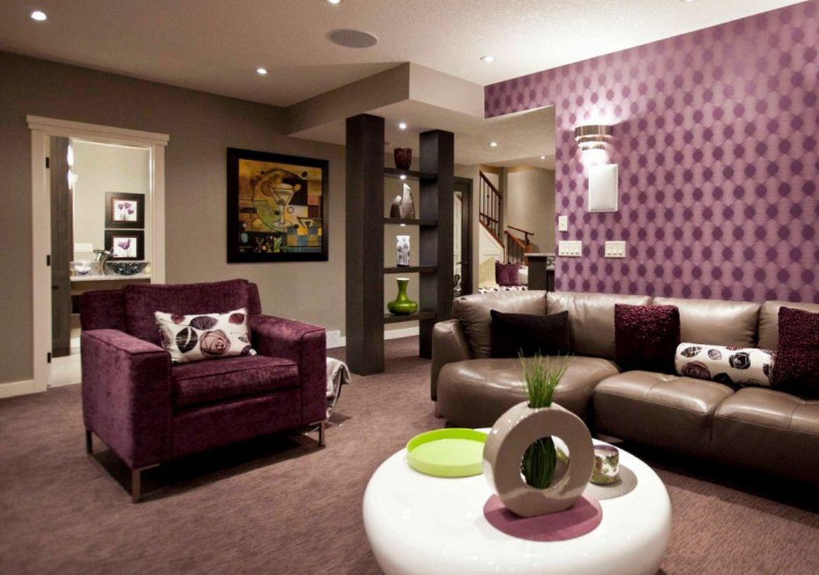 Basement living room with small roun table, sofa and unique wall ideas