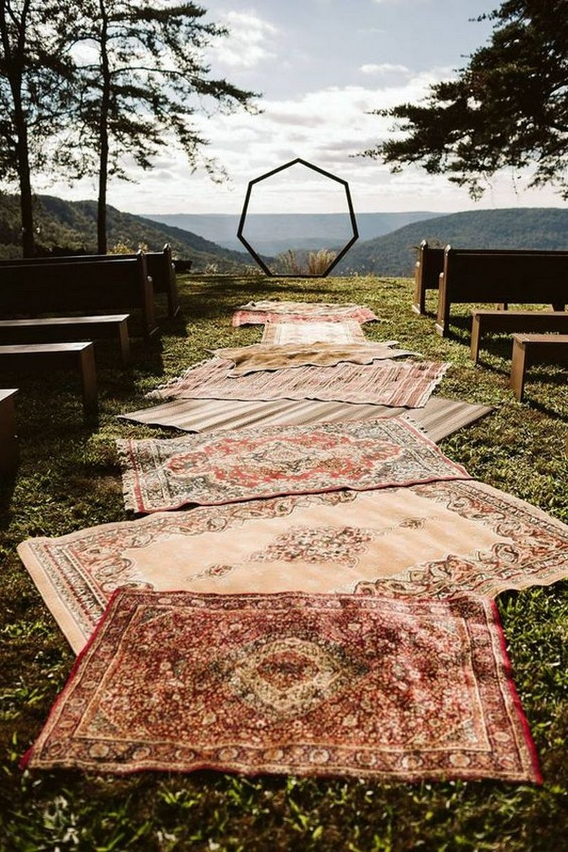 Bohemian wedding ceremony decoration