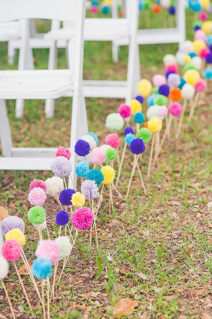 Boho colourful aisle markers