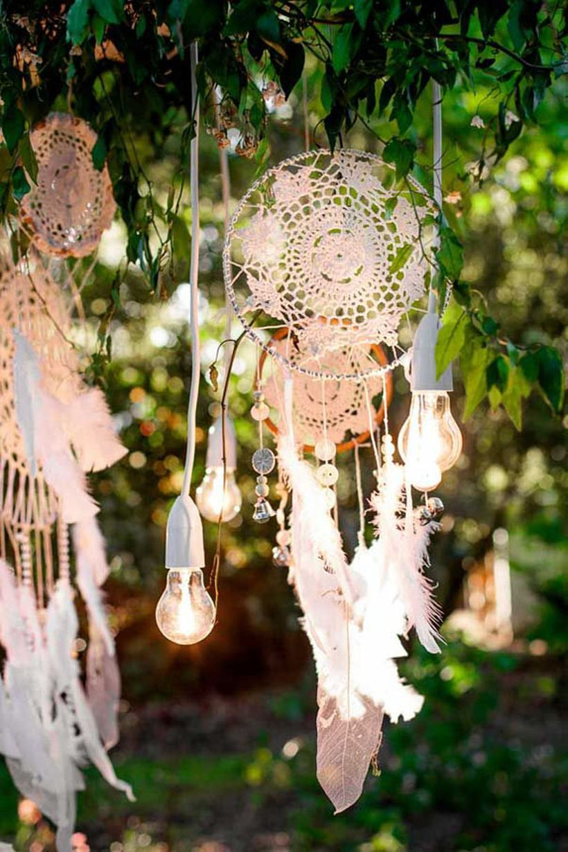 Hanging lamps and embroidery decoration