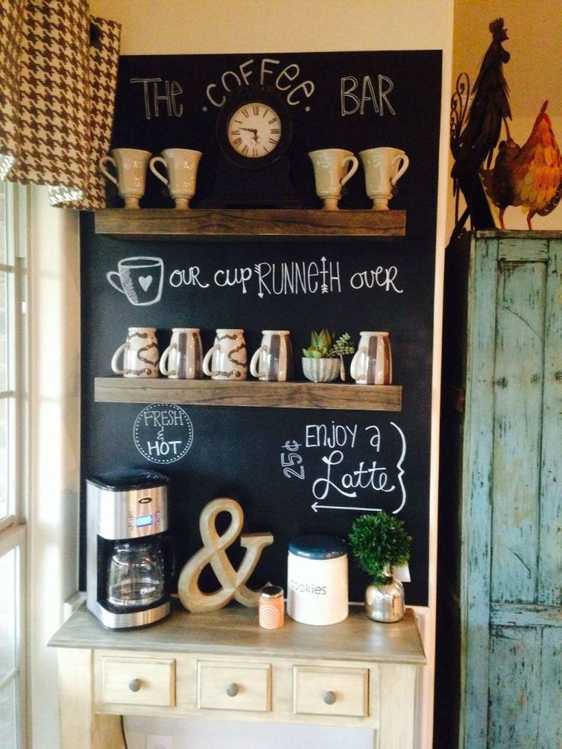 Coffee bar wooden decoration combined with black boards and small drawers to complete your home