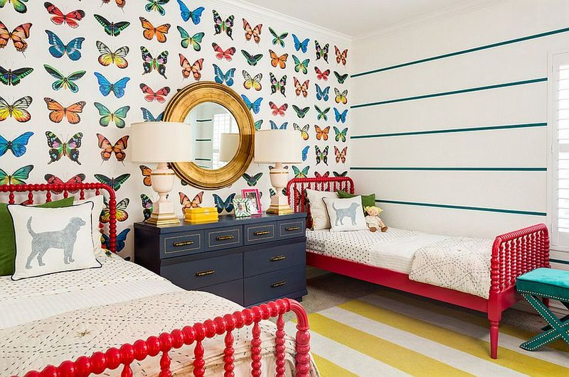 Colorful-butterfly-and-two-red-beds-for-kids-room.