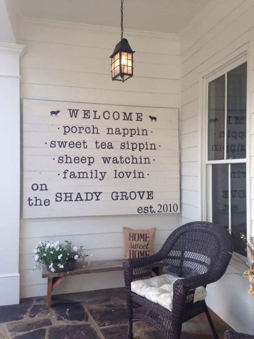Fun and eccentric porch welcome sign